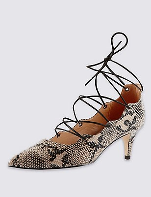 Faux Leather Pointed Ghillie Court Shoes with Insolia®, NATURAL MIX, catlanding