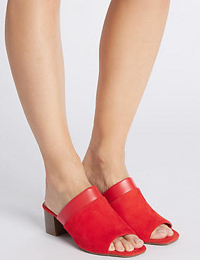 Wide Fit Suede Block Heel Mule Sandals, FLAME, catlanding