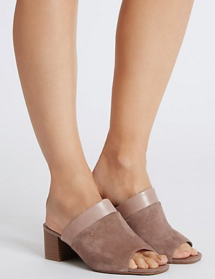 Wide Fit Suede Block Heel Mule Sandals, MINK, catlanding