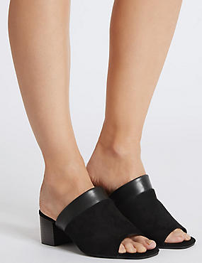 Wide Fit Suede Block Heel Mule Sandals, BLACK, catlanding