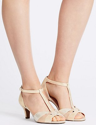 Wide Fit Suede Stiletto Sandals, METALLIC, catlanding