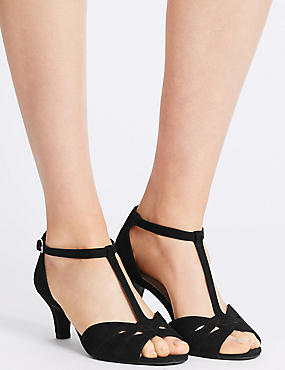 Wide Fit Suede Stiletto Sandals, BLACK, catlanding