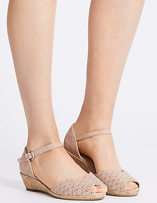 Wide Fit Suede Wedge Heel Sandals, DUSKY PINK, catlanding