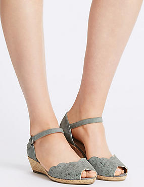 Wide Fit Suede Wedge Buckle Sandals, DENIM, catlanding