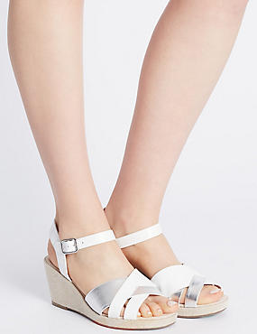Wide Fit Leather Wedge Heel Slotted Sandals, WHITE MIX, catlanding