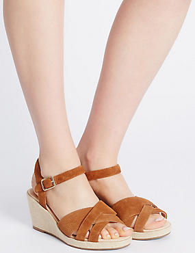 Wide Fit Suede Wedge Heel Slotted Sandals, TAN, catlanding