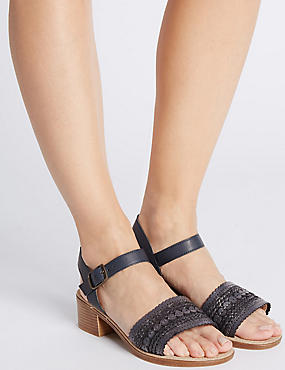 Leren sandalen met blokhak en brede pasvorm, MARINE, catlanding