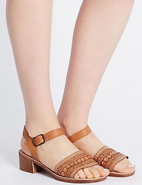 Sandales larges en cuir à talons carrés , HAVANE, catlanding