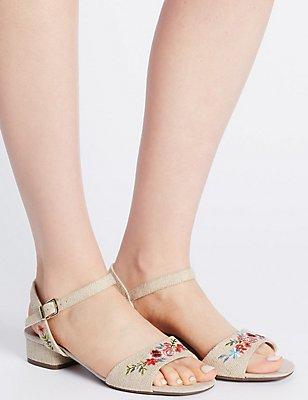 Wide Fit Block Heel Embroidered Sandals, NATURAL MIX, catlanding