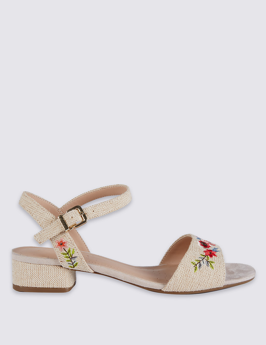 Shoes zone sandals - Wide Fit Block Heel Embroidered Sandals