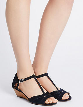 Wide Fit Suede Wedge Heel Sandals, NAVY, catlanding