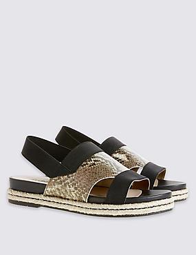 Sandales larges en cuir à semelle compensée, NATUREL ASSORTI, catlanding