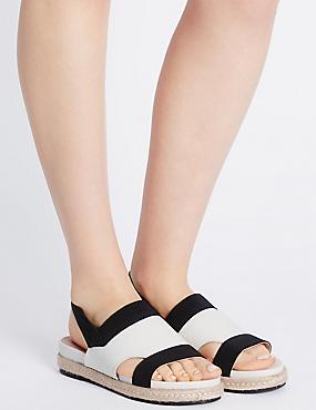 Sandales larges en cuir à bride élastique, BLANC ASSORTI, catlanding