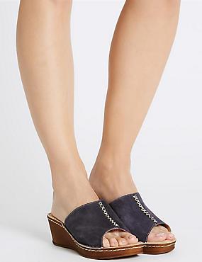 Wide Fit Suede Wedge Heel Sandals, NAVY, catlanding