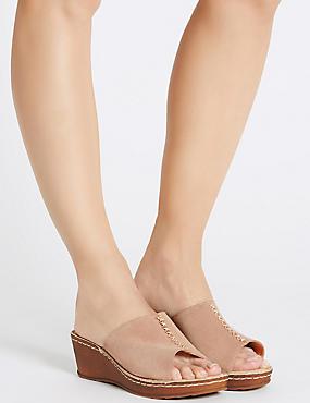 Sandales larges en daim à talons compensés, MARRON ROSÉ, catlanding