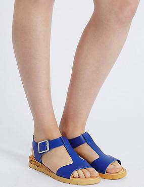 Wide Fit Leather Wedge Heel Sandals, COBALT, catlanding