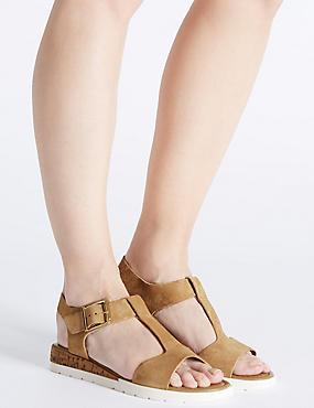 Sandales larges en cuir à talons compensés, SABLE, catlanding