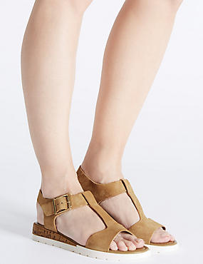 Wide Fit Leather Wedge Heel Sandals, SAND, catlanding