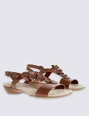 Wide Fit Leather Wedge Heel Sandals, TAN, catlanding