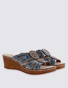 Wide Fit Leather Wedge Heel Slip-on Sandals, NAVY MIX, catlanding