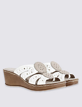 Wide Fit Leather Wedge Heel Slip-on Sandals, WHITE MIX, catlanding