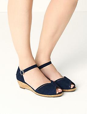 Suede Wide Fit 2 Part Wedge Sandals, , catlanding