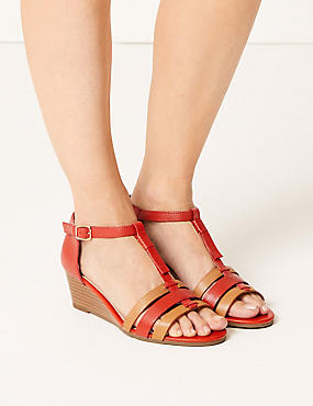 Leather Wide Fit Wedge Sandals, FLAME, catlanding