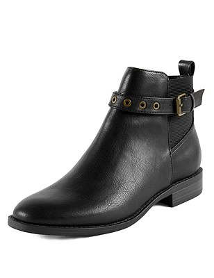 Eyelet Block Heel Ankle Boots with Insolia Flex®, BLACK, catlanding