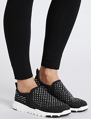 Jewelled Trainers, BLACK MIX, catlanding