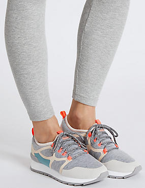 Lace Up Active Trainers , GREY MIX, catlanding