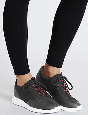 Lace-up Active Trainers with  Insolia Flex®, BLACK MIX, catlanding