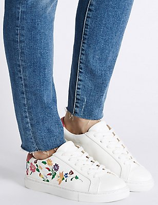 Lace-up Floral Embroidered Trainers, WHITE MIX, catlanding