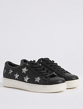 Lace-up Star Trainers with Insolia Flex®, BLACK, catlanding