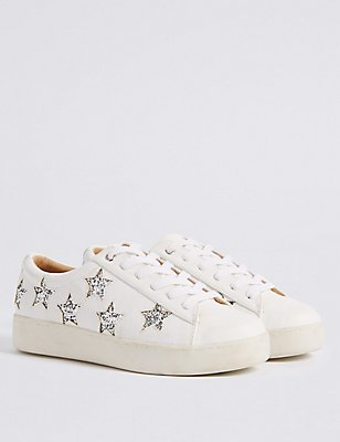 Lace-up Star Trainers with Insolia Flex®, WHITE, catlanding