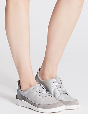 Leather Lace-up Trainers, SILVER, catlanding