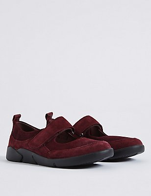 Suede Riptape Pump Shoes, BURGUNDY, catlanding