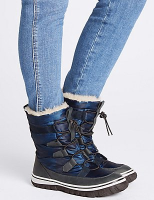 Waterproof Lace-up Ankle Boots, NAVY, catlanding