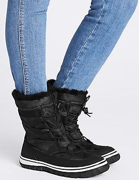 Waterproof Lace-up Ankle Boots, BLACK, catlanding