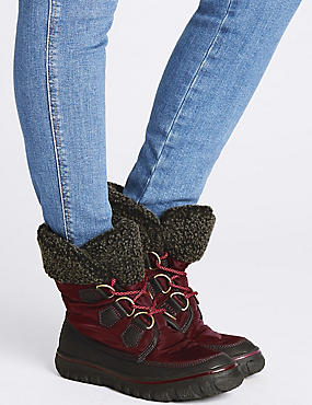 Waterproof Faux Fur Lace-up Ankle Boots, BURGUNDY MIX, catlanding