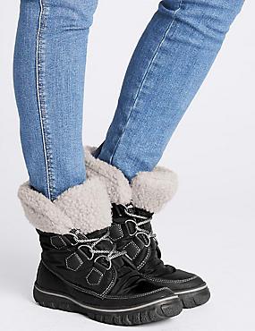 Waterproof Faux Fur Lace-up Ankle Boots, BLACK, catlanding