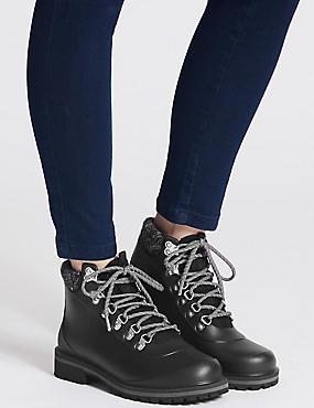 Waterproof Block Heel Lace-up Ankle Boots, BLACK, catlanding