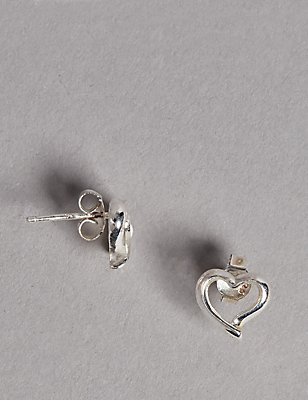 Sterling Silver Heart Stud Earrings, , catlanding