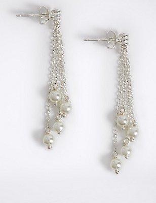 Sterling Silver Pearl Chain Drop Earrings, , catlanding