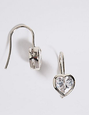 Platinum Plated Heart Bezel Drop Earrings, , catlanding