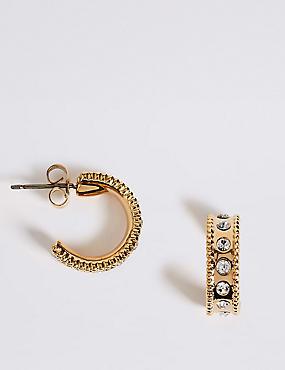 Gold Plated Diamanté Hoop Earrings, , catlanding