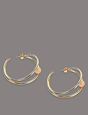 Deco Ball Hoop Earrings, , catlanding