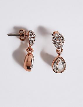 Pavé Pear Diamanté Earrings MADE WITH SWAROVSKI® ELEMENTS, , catlanding