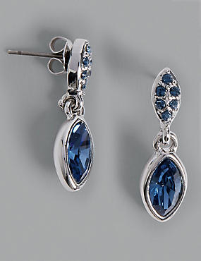 Pavé Navette Diamanté Drop Earrings MADE WITH SWAROVSKI® ELEMENTS , LIGHT BLUE, catlanding