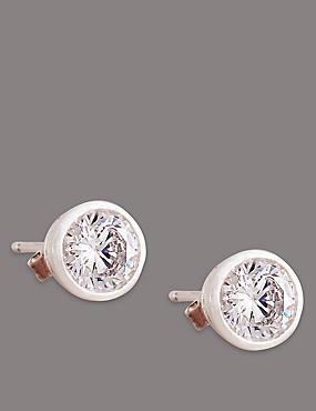 Sterling Silver Floating Stone Diamanté Stud Earrings, , catlanding