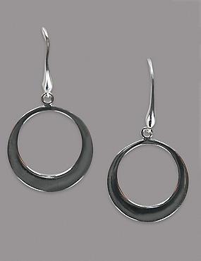 Sterling Silver Smooth Flat Hoop Earrings, , catlanding